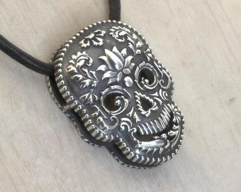 Halloween Day of the Dead Dia de los Muertos Sugar Skull Necklace Skull Pendant Silver Skull Jewelry Calavera