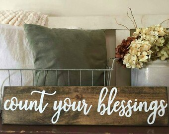 Count your blessings Wood Sign