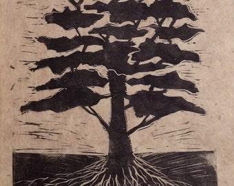 original limited edition linocut print of tree