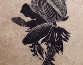 original limited edition linocut print of a flower