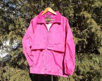 Eddie Bauer 90s Windbreaker Pink Jacket Vintage Windbreaker with Hideaway Hood Size Womens Large 90s Clothing 80s Eddie Bauer HOt Pink