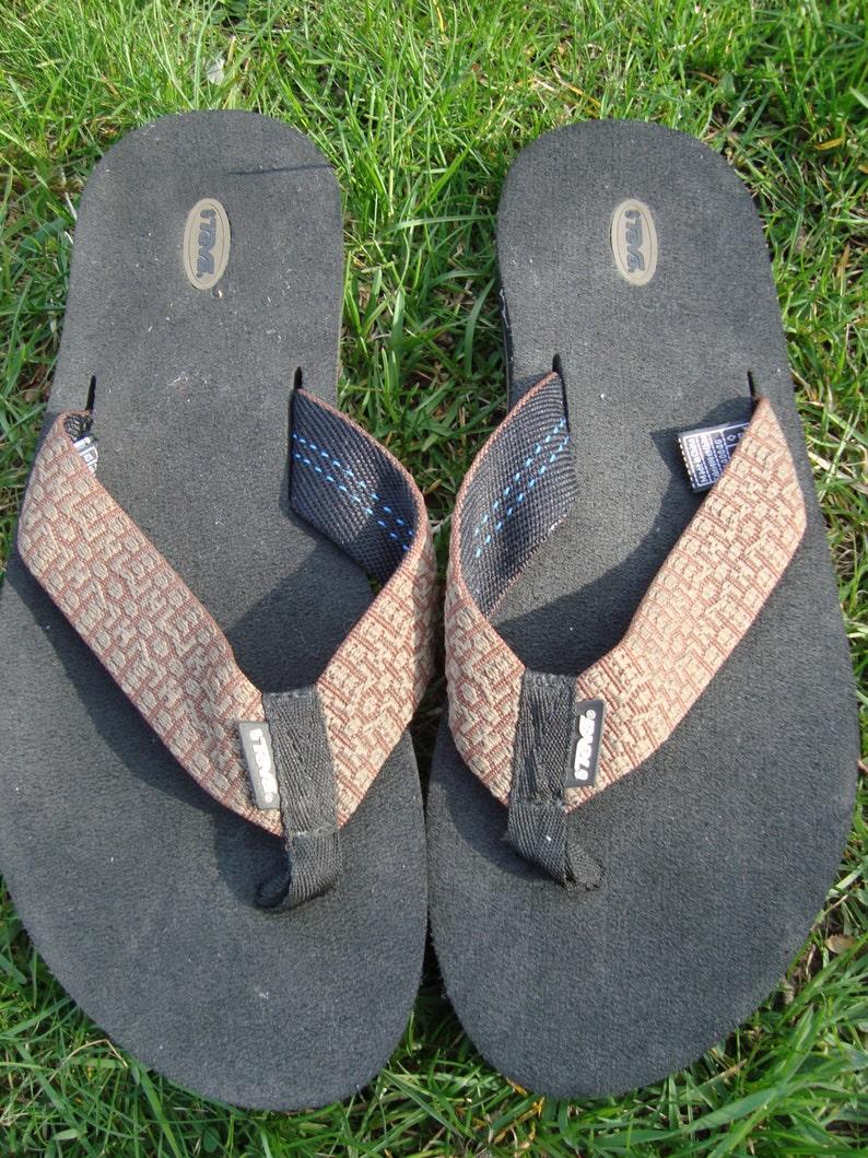 a921a2ce5e74 Teva Sandals Flip Flop Brown Beige Pattern Size 11 Mens Teva
