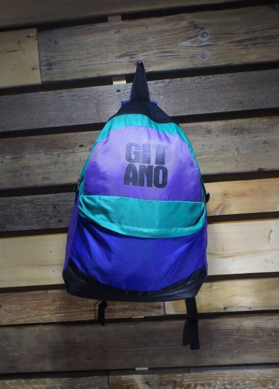 8e96dd2158 Gitano Bag Colorblock 90s Purple Blue Teal Back Pack Color