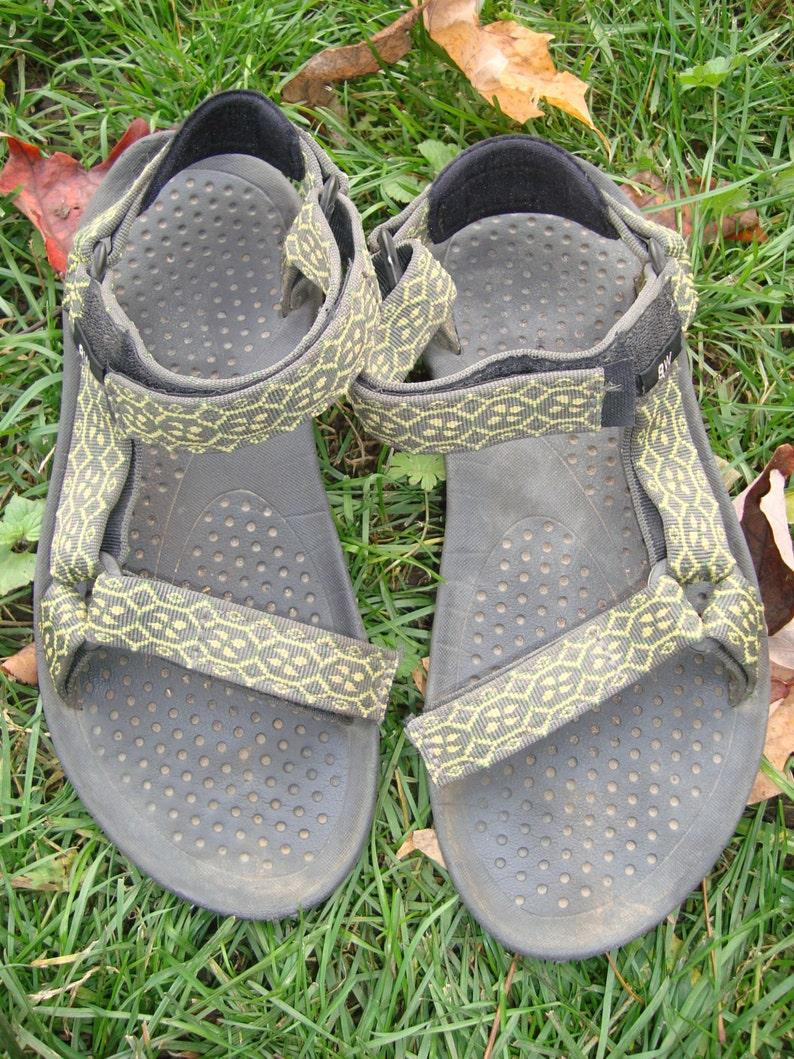 43de88b3d7c02 90s Teva Strap Sandals Vintage Lime Green Unique Grey Size 8