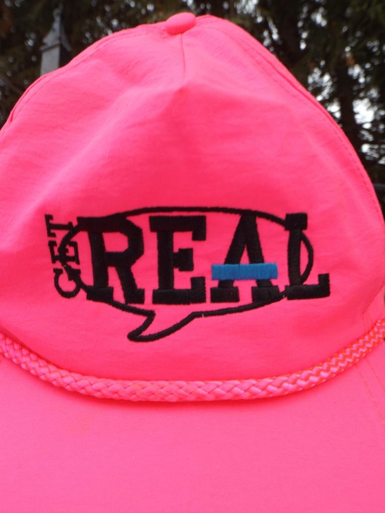 9c90743585ee7e Neon Pink Hat Baseball Cap Get Real Neon 90s Snapback Logo 90s   Etsy