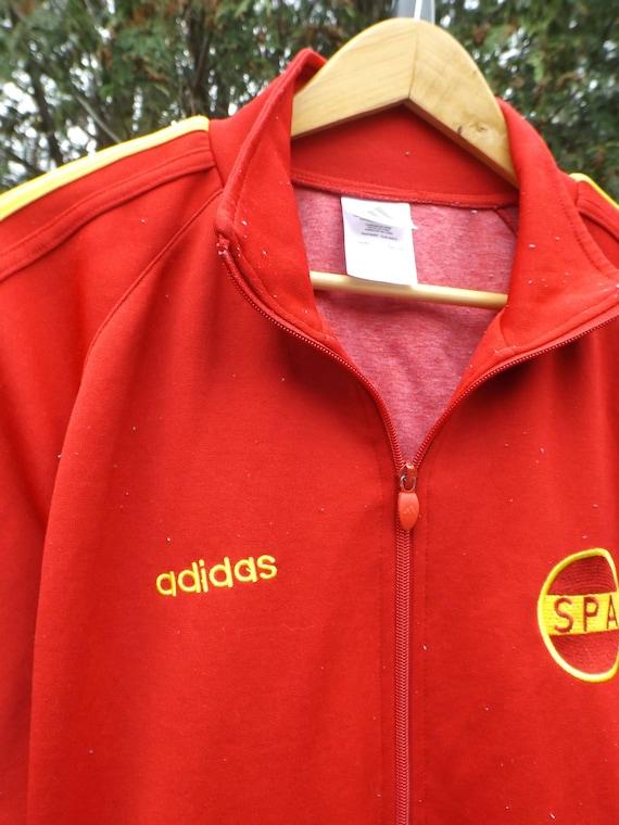 Adidas Track Jacke, rote Adidas Vintage, Spanien Adidas Jacke, Adidas Windbreaker Vintage, Vintage Adidas La Furia Roja, groß, 90er Jahre