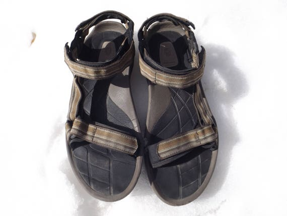 Teva Sandals Teva 90s Sabdals Vintage Shoes Size Mens 12 US 11 UK Brown Green Beige Earthy Strap Sandals Sport TEVAS 90s sandals beach sport