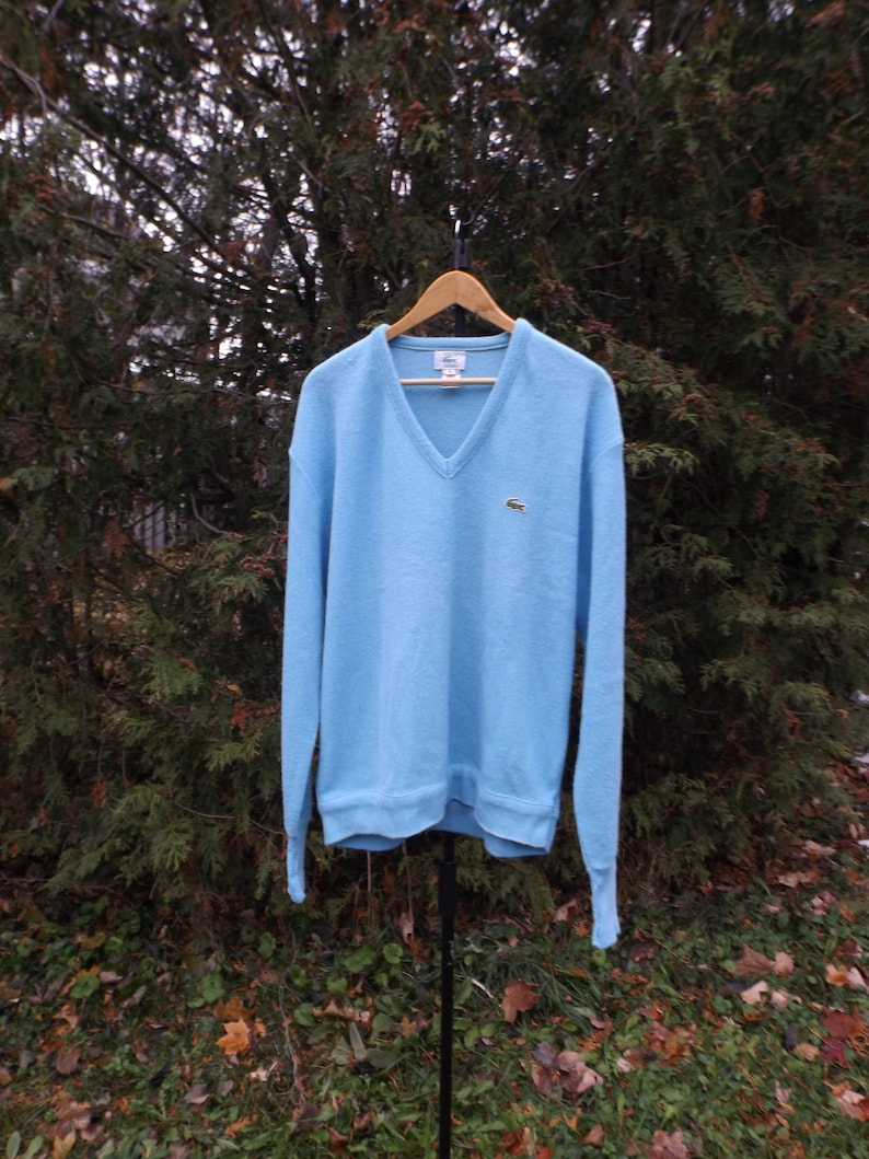 fa08c736 Lacoste Sweater, Knit Lacoste 80s Sweater Light Blue, Mens Large, Womens  XL, Discounted Sweater, La Coste, Alligator Sweater, V neck, 1980s