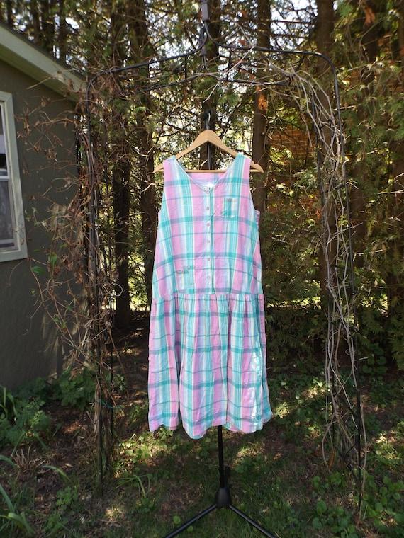 Pastel Plaid Dress 90s Womens Size Medium to Large
