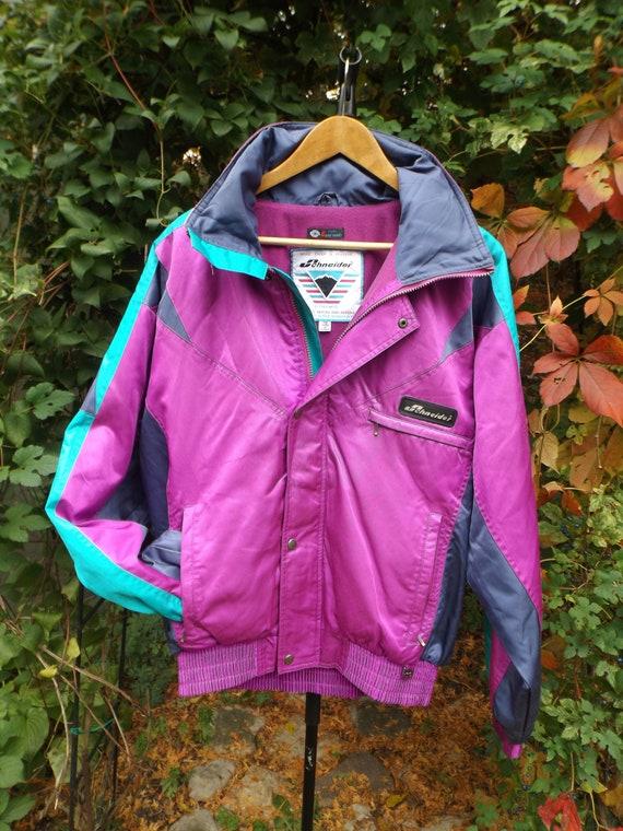 Vintage 90s Ski Jacket Mens L Color Block Jacket Chameleon Ski Suit Jacket Color Block Winter Jacket Hooded Snow Jacket Womens Ski Jacket