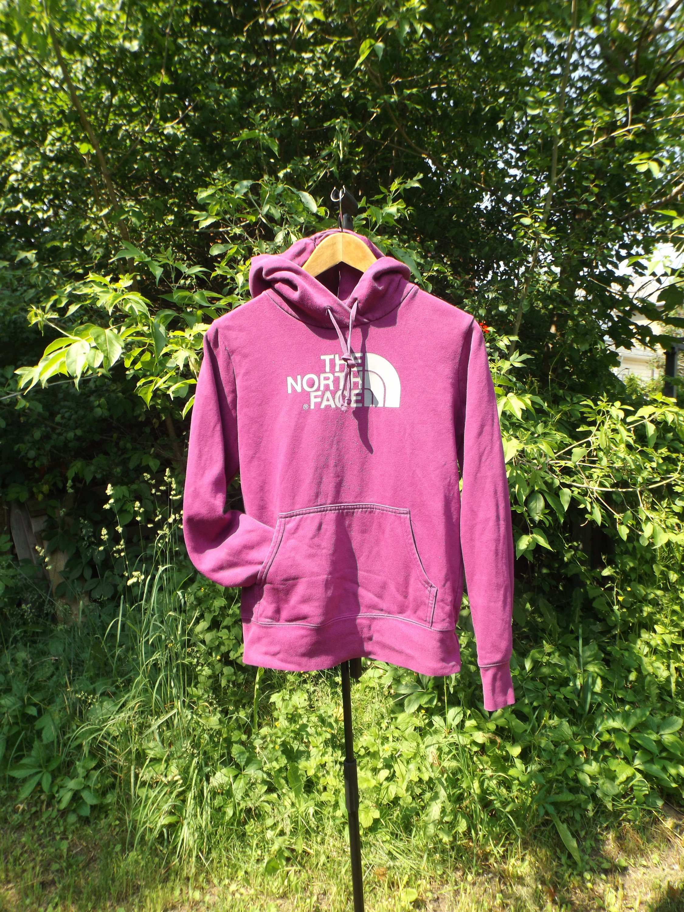 47c84a5eb North Face Hoodie, Grey Pink Fuscia, Vintage North Face, Hiking Adventure  Outdoors Camping Hoodie Sweatshirt 90's Clothing, Women's Small