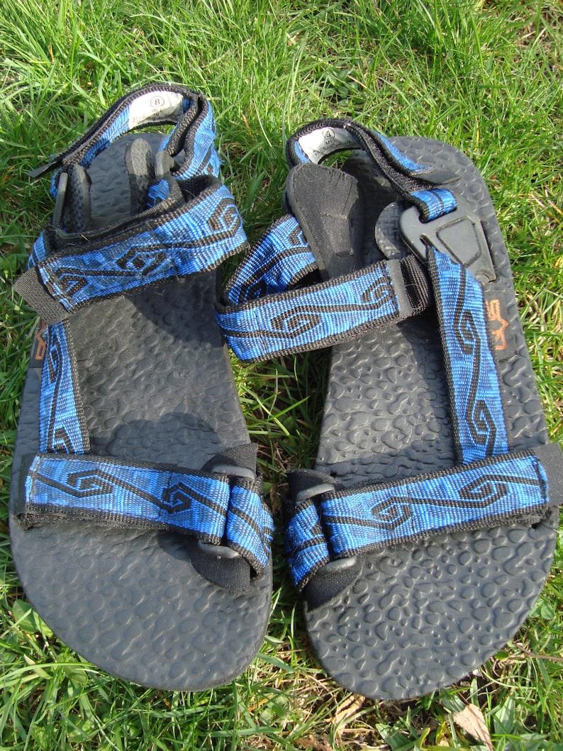 402b92b5b903a 90s UVS Vintage Sandals Teva Style Blue with Pattern Vintage