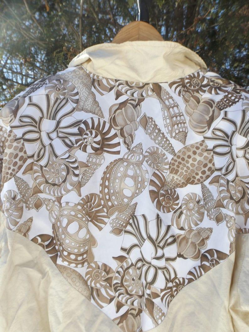 RAD Womens Windbreaker 90s Windbreaker Jacket Womens Aesthetic Jacket Seashell Pattern Fresh Prince Oversized Windbreaker Size Large Womens