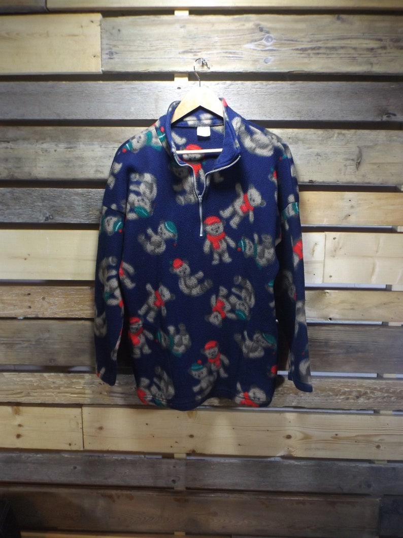 81d72e24cfb XL Fleece Pullover Christmas Sweater Teddy Bear Pattern