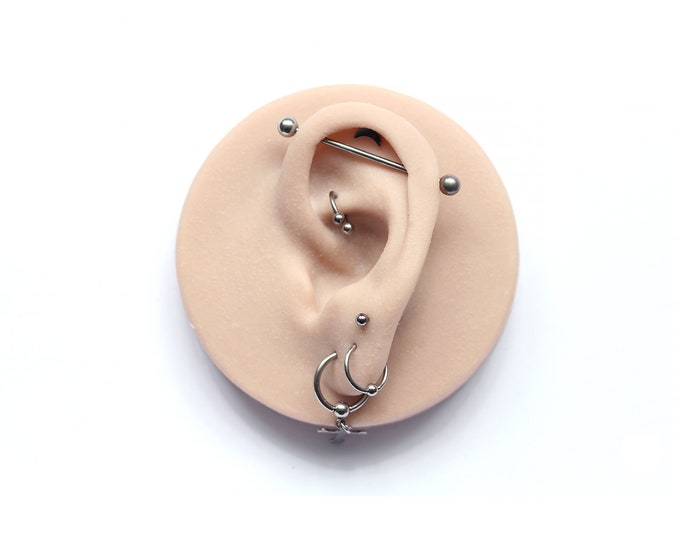 Ear Jewellery Display / Silicone / Latex Free / Piercings / Tattoos / Earrings / Gold / Diamonds / Silver /