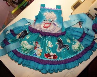 Vintage fabric Ariel Sebastian Flounder Mermaid  Princess  Ruffles Dress  Size 18 mo Ready to Ship