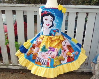 Patchwork Vintage fabric snow white and the seven dwarfs  Princess    Ruffles Dress only   Ready to Ship