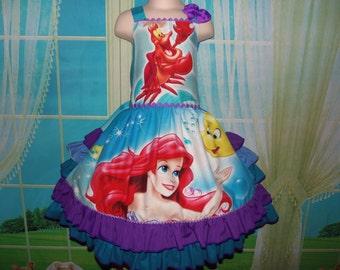 Vintage fabric Ariel Sebastian Flounder Mermaid  Princess  Ruffles Dress  Size 5/6/7 Ready to Ship