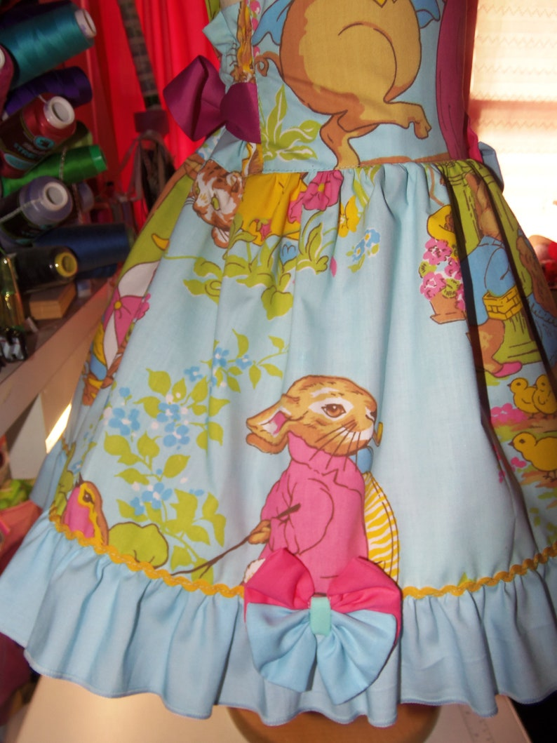 Ginger and Pickles Peter Rabbit Vintage  fabric Picture Day Ruffle Dress Size 4t Ready to ship