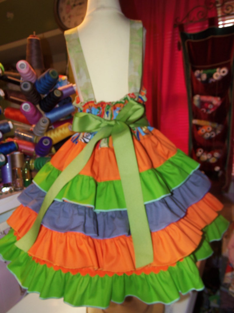 see measurements Madagascar Christmas  Ruffle  Dress  Size 4t Ready to ship