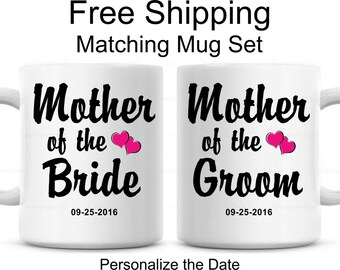 Mother Of The Bride, Mother Of The Groom, Set Of Matching Mugs Wedding Gift, Bridal Shower Gift