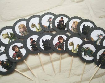 How to train your dragon etsy how to train your dragon double side cupcake toppers topper die cuts party ccuart Image collections