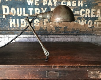Vintage Industrial Machinists Lamp Factory Salvage Decor