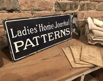 Antique 'Ladies' Home Journal PATTERNS' Double Sided Porcelain Flange Rustic Sewing Sign
