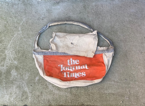 Vintage Journal Times Newspaper Messenger Bag Pape