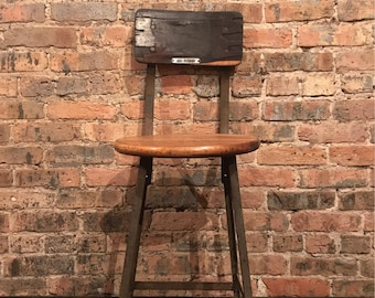 Industrial Shop Stool Garage Seating Angle Iron and Wood