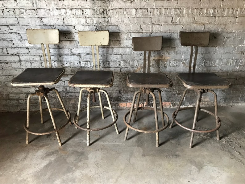 Set of 4 Industrial Inter Royal A-Frame Adjustable Stools with Backs Vintage Seating