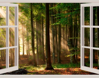 3D Window Wall Decal Forest Woods Sticker Home Decor Living Room Bedroom Dorm Wilderness Outdoors Mural