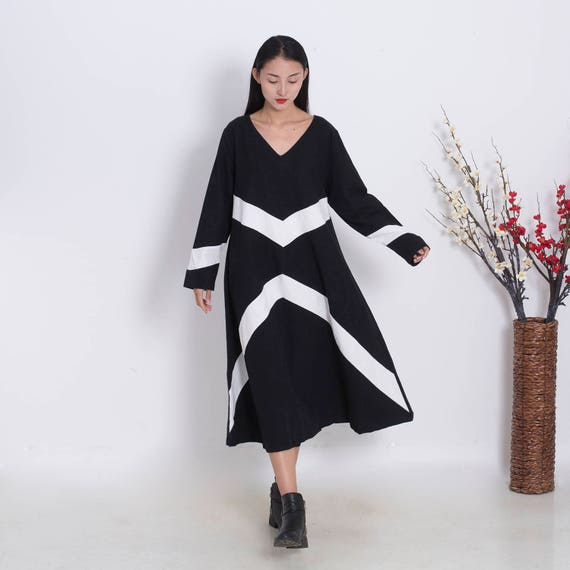 62a9f873806a0 Ovary---Loose dress Linen and cotton dress contrast color Plus size dress  Plus size clothing