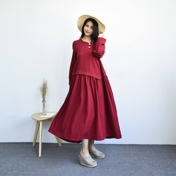 Kapok---Retro Loose draped dress Linen and cotton dress Plus size dress  Plus size clothing