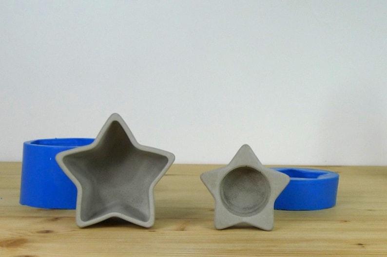 Silicone rubber concrete planter mold, Concrete candleholder mold, Star  candleholder, Concrete tlight holder, Concrete flower pot form