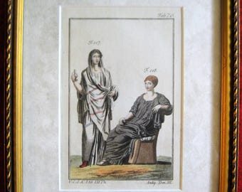 Two Women in Classical Dress - Paris, 1810 - Custom Framed Hand Tinted Copper Plate Engraving