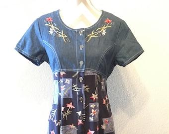 Vintage 90's denim floral dress