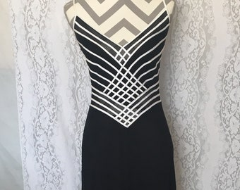 Vintage 80's/90's black and white striped tank top dress/black and white evening dress