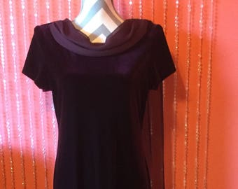 Vintage 80's/90's burgundy cowl-neck dress/maroon-purple velvet scarf dress