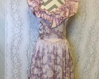Silky pink ruffled Gunne Sax dress