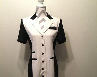 Vintage 90's black and white buttons down dress