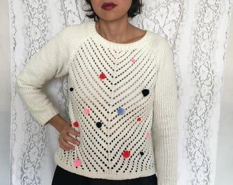 00c585f67d White Pom Pom sweater