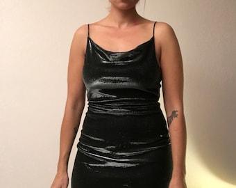 6e5062a5f01 90s minidress/silver minidress/shimmery minidress/club kid/90s party dress /raver/spaghetti strap dress/cowl neck dress/sparkly minidress
