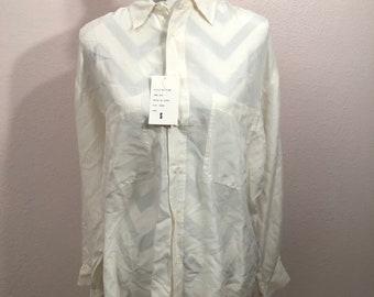 468290d3fffbc3 Vintage 90s cream white silk shirt white button down silk shirt minimalist  white blouse