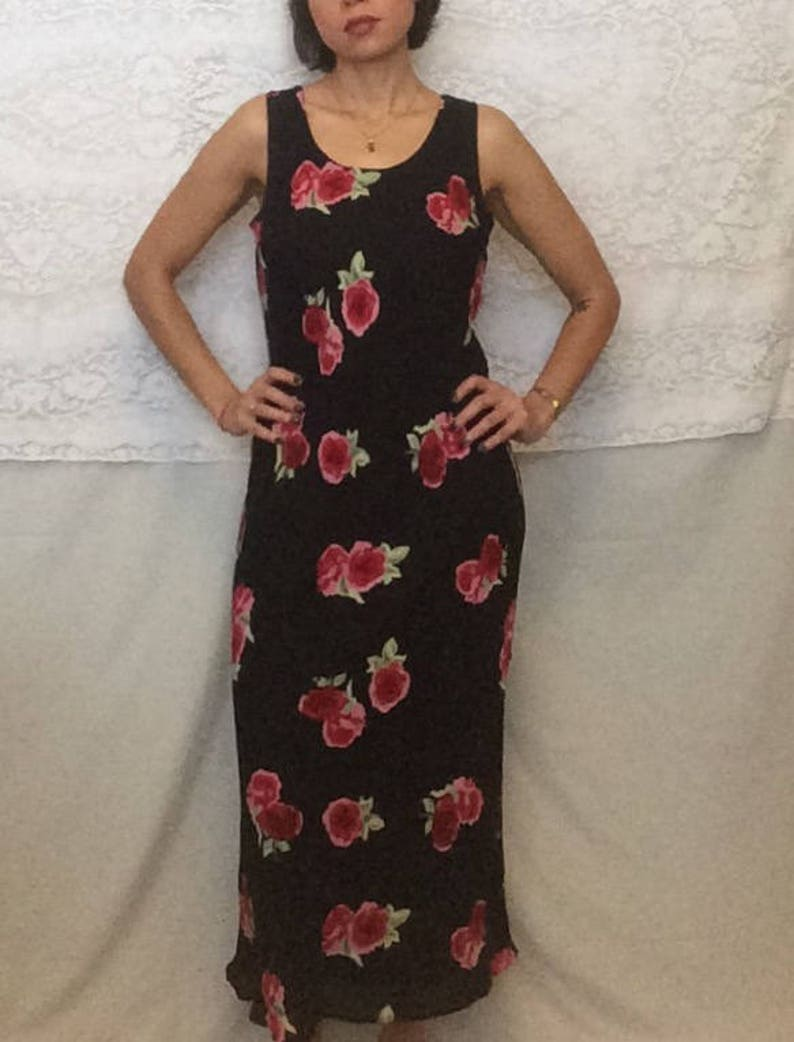 5ab67fb80ac Vintage 90 s long floral dress black red dress black and