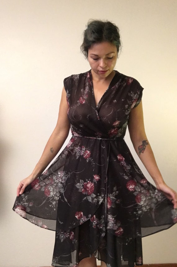 Black floral 70s dress/witchy flowy 70s dress/70s… - image 4