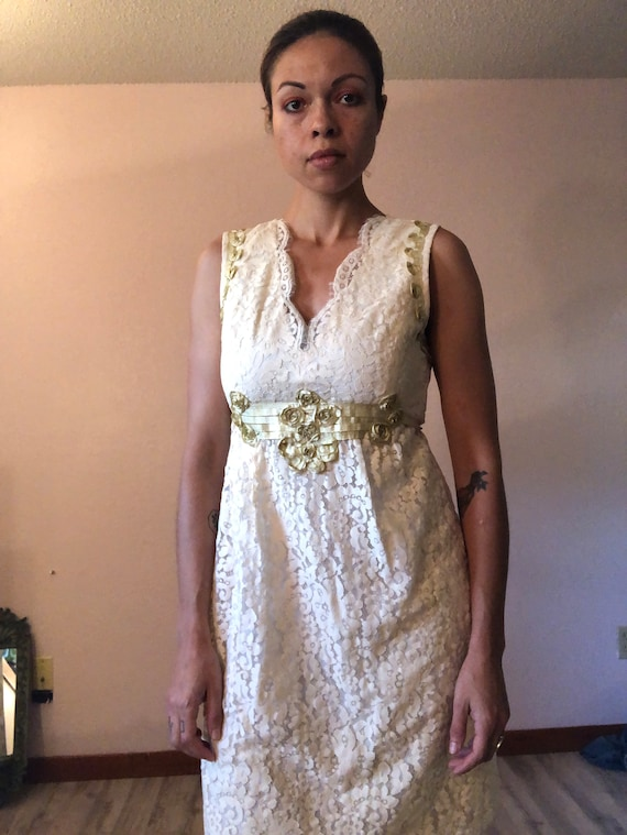 Vintage 90s Anna Sui dress/wedding dress/lacy whit