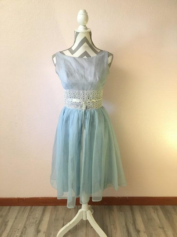 Vintage 60s blue dress/60s prom dress/fancy 60s dr
