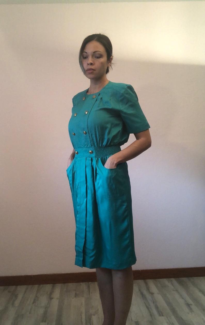 Vintage 80s green dress90s green dressteal green dressgold buttonselastic waist dresssecretary dressvintage office dress