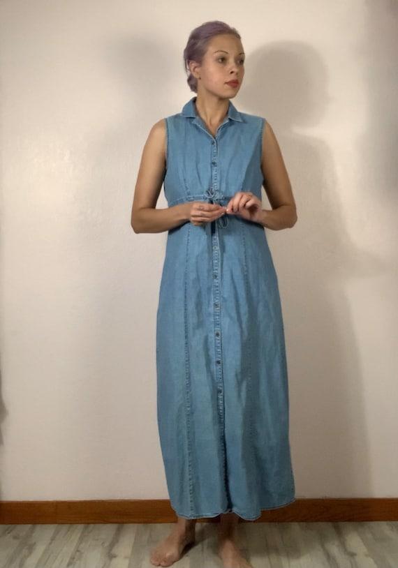 Vintage 90s long button down denim tank top dress… - image 7